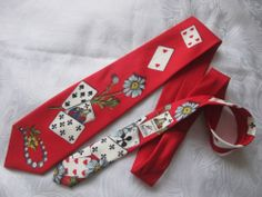 """♠♦♣♥ Fornasetti """"Playing Card"""" Design Neck Tie"""