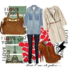 A fashion look from October 2010 featuring long sleeve blouse, fur-lined coats and blue skinny jeans. Browse and shop related looks.