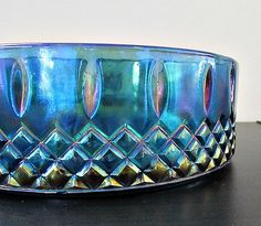 Vintage Indiana Blue Carnival Glass Dish in by LizzieJoeDesigns, $10.00