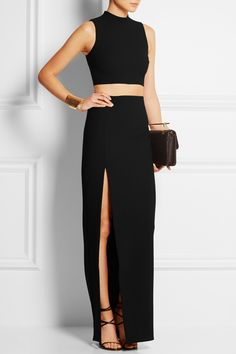 ELIZABETH AND JAMES Avita cropped stretch-jersey top ELIZABETH AND JAMES Avita stretch-jersey maxi skirt FENDI Crocodile and leather sandals M2MALLETIER La Fleur Du Mal leather clutch KENNETH JAY LANE Hammered gold-plated cuff