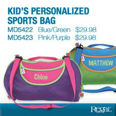 """PERSONALIZED KIDS TOTE BAG from Regal Gifts Brightly coloured tote is the perfect size for kids activities, games and snacks! Wide-open zippered compartment makes packing and access easy, with a outside flap pocket and handy shoulder strap for comfy use on the go. Polyester construction. Machine washable. Ages 3+. Personalization: Name, up to 10 characters. 16""""L x 10""""H x 3""""W."""