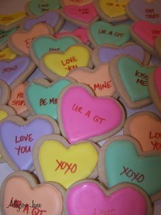 Allyson Jane; Valentine's day cookies, hearts, messages on hearts, candies