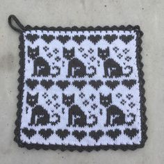 Animal Knitting Patterns, Fair Isle Knitting Patterns, Filet Crochet Charts, Double Knitting, Hama Beads, Pot Holders, Diy And Crafts, Sewing Projects, Crochet Pattern