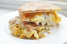 Simple clean eating breakfast: Whole Wheat Flat Bread Egg and Cheese Sandwich || From Clean Eating Weight Loss Meal Plan 210