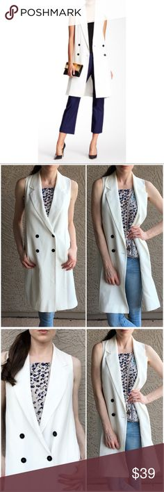"""✨1. State✨ Double-Breasted Longline Vest ✨NWOT Double breasted longline vest. White with black buttons. 1. State is sold at Nordstrom & Revolve. Length: 37"""", Pit to Pit: 18"""". Tiniest speck on left lapel. ✨OFFERS WELCOME✨ 1. State Jackets & Coats Vests"""
