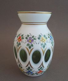 Found this great Bohemian vase at Milk Glass and More!  Pfohl Bohemian Opaque Cased Green Vase Hand Painted Floral