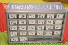 """Montessori Alphabet Box- you can make one from an organizer from the hardware store.  Each drawer contains small things that begin with the letter marked on the drawer.  Make sure you save this one for after you child is done """"mouthing"""" everything since the drawers are quite small and that limits the size of the object(s) that will fit inside."""