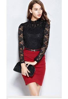 Toamna aceasta, se poarta #bluzele negre, pe gat. Combina #bluza cu o #fusta rosie pentru a obtine o #tinuta #fashion demna de orice ocazie. Orice, Dresses, Fashion, Vestidos, Moda, Fashion Styles, Dress, Fashion Illustrations, Gown