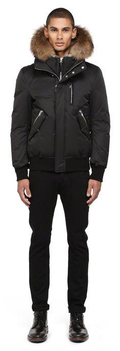 Mackage - DIXON-F4 BLACK WINTER DOWN BOMBER JACKET FOR MEN WITH FUR HOOD. www.mackage.com #menswear #fw14 #wintercoat #fur #parka #luxuryouterwear