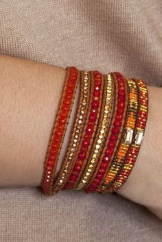 Chan Luu Red coral mix wrap bracelet