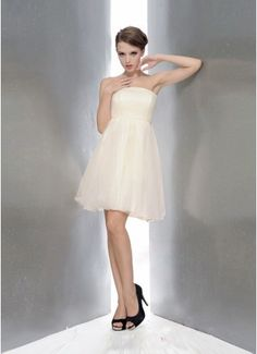GW White A-line Strapless Short/Mini Chiffon Wedding Dresses - Wedding & Events