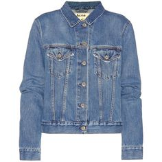 Acne Studios Top Denim Jacket (23,180 INR) ❤ liked on Polyvore featuring outerwear, jackets, blue, blue jackets, blue jean jacket, denim jacket, acne studios and jean jacket