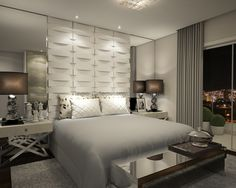 .interesting panels behind bed mirrors along side of bed
