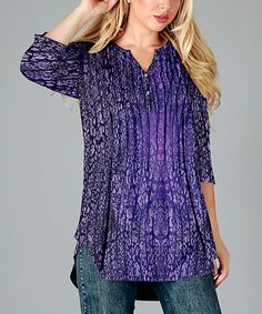 Look what I found on #zulily! Purple Floral Notch Neck Tunic - Plus by Simply Aster #zulilyfinds