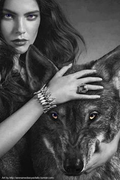 "arenamediasyasfalto: "" Girl & Wolf-Art By AM&A """