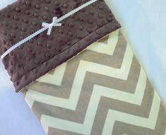 Minky Baby Blanket, Gray Chevron Baby Blanket, Gender Neutral  Gift