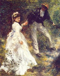 My favorite painting four years ago. My dorm will be filled with paintings. Pierre Auguste Renoir, La Promenade