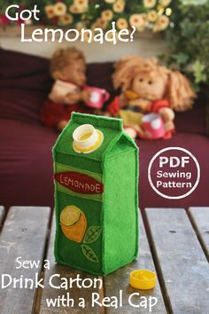 Felt food pattern Juice Carton PDF Sewing Pattern- Interactive Softie with real screw cap // by PlayfulToys on Etsy - würde ich als wiederverwendbare Hülle machen!
