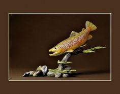 World Champion brown trout carving by Clark Schreibeis