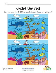 spot the difference sea worksheet Summer Worksheets, Preschool Worksheets, Preschool Activities, Reading Activities, Find The Difference Pictures, Spot The Difference Puzzle, Spot The Difference Printable, Visual Motor Activities, Airplane Activities