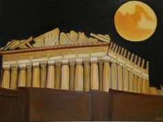 Acropolis, Athens, Oil On Canvas, Original Artwork, Temple, Stairs, Layout, Facebook, Gallery