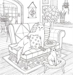 Cat Coloring Therapy Cat Coloring Book by Grace J, nakdsok - Korean Cat Picture Illustrations Coloring Book Farm Animal Coloring Pages, Cat Coloring Page, Adult Coloring Book Pages, Colouring Pages, Coloring Books, Cute Food Drawings, Colorful Drawings, Cat Photography, Cat Colors