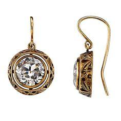 Gorgeous 3.91 Carat Old European Cut Diamond Gold Earrings | From a unique collection of vintage dangle earrings at https://www.1stdibs.com/jewelry/earrings/dangle-earrings/