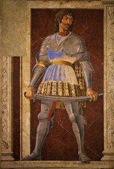 """Andrea di Bartolo di Bargilla detto Andrea del Castagno (1421 – 1457) """"Portrait of Pippo Spano/Ritratto di Pippo Spano"""" (1448 – 1451) ripped fresco cm 250x150, Galleria degli Uffizi, Firenze"""