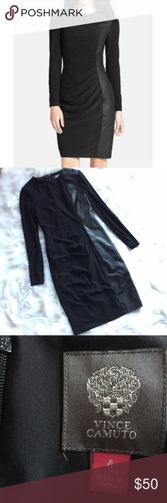 """Vince Camuto Black Faux Leather Panel Black Dress •Vince Camuto Black Faux Leather Panel Long Sleeve Dress •Excellent used condition •Women's Size 4 •Vegan Leather front panel, slight ruching  •Back zip with clasp closure •Body 62% polyester, 33% rayon, 5% spandex// lining 100% polyester •Al measurements are approximate: 37"""" length, 16.5"""" armpit to armpit, 18.5"""" armpit to end of sleeve Vince Camuto Dresses Long Sleeve"""