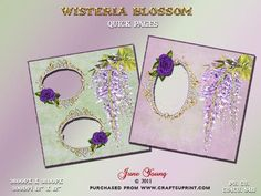 """Wisteria on Craftsuprint designed by June Young - Two pages with Wisteria trimmed backgrounds. One with a green background has two oval appertures trimmed with ornate gold oval frames each trimmed with a purple rose. The second page has a mauve background with wisteria trim and a single large apperture with the sme ornate oval frame trimmed with a purple rose. Pages are 12"""" x 12"""" at 300dpi .png files with transparent backgrounds so your photos can be slipped in easily. These pages can be…"""