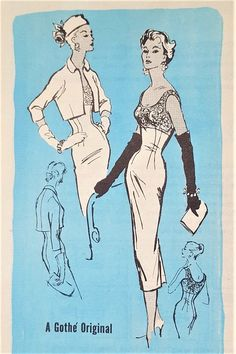 1950s STRIKING Cocktail Party Evening Sheath Dress and Jacket Pattern PROMINENT Designer 721 Gothe Original Design Bombshell Dress Bust 34 Vintage Sewing Pattern FACTORY FOLDED