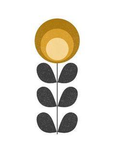 Art Print: Mid Century Modern Yellow Flower I by Anita Nilsson : Mid Century Wall Art, Mid Century Modern Art, Diy Wall Art, Diy Art, Illustrations, Illustration Art, Motif Vintage, Scandinavian Folk Art, Modern Art Prints