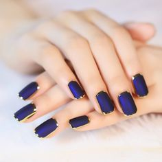 $5.40 Stylish 24 PCS Golden Edge Frosted Blueviolet Nail Art False Nails