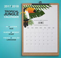 2017 2018 Tropical Jungle Printable Calendar