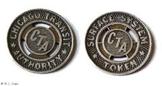 """old cta bus tokens - Yahoo! Image Search Results.  This used to be how we paid our fare to ride the bus or the """"L"""".  Transfers were free if you used them up within the stamped time."""