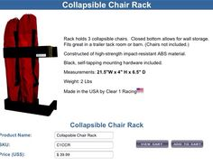 3 chair rack for horse trailer tack room. Www.traileraccessorystore.com
