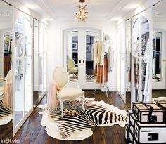 """""""Every proper dressing room (or palatial It-girl closet) should have a mirror or two to make getting dressed easy, but designer and former reality star Lauren Conrad has covered the walls of her walk-in closet with mirrors, making the space appear even larger than it already is."""""""