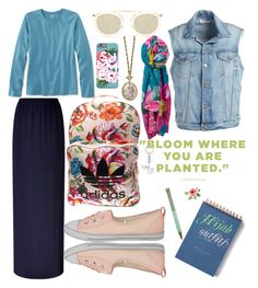 """#Flowery #Hijab_outfits #chic"" by mennah-ibrahim on Polyvore featuring Frame, L.L.Bean, Escada Sport, Joules, 1928, Thierry Lasry, adidas and Converse"