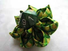 Dragon Scales Kanzashi Dice Flower Hair Clip by MountainMusings, $18.00