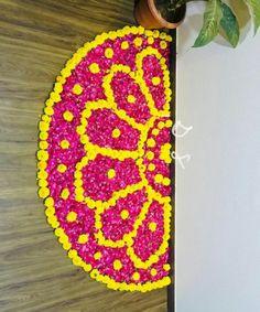 Flower decoration Simple Rangoli Designs Images, Rangoli Designs Flower, Rangoli Border Designs, Colorful Rangoli Designs, Rangoli Ideas, Rangoli Designs Diwali, Diwali Rangoli, Beautiful Rangoli Designs, Flower Designs