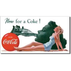 Now for A Coke Coca Cola Vintage Women in Swimsuit Pool Picture Metal Ad Sign Coca Cola Drink, Coca Cola Ad, Coke Ad, Vintage Coca Cola, Vintage Tin Signs, Retro Vintage, Vintage Posters, Vintage Items, Sodas