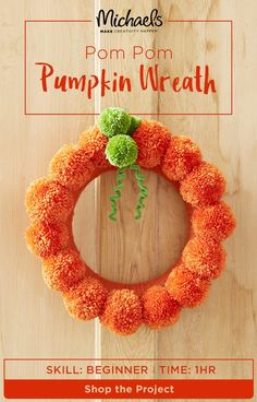 Pom poms and were made for each other and This Pom Pom is easy to assemble, leaving you more time to MAKE your list of Halloween DIY's (we know you have plenty!) Get started by finding the complete how to on the Michaels project page. Craft Stick Crafts, Crafts To Sell, Diy Crafts, Diy Autumn Crafts, Easy Yarn Crafts, Craft Ideas, Pom Pom Wreath, Diy Wreath, Wreath Crafts