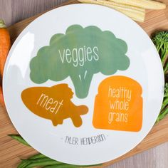 Personalised Bone China Plate - Illustrated Portions | GettingPersonal.co.uk