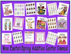 Nine Easter / Spring Addition Center Games from Fern Smith on TeachersNotebook.com -