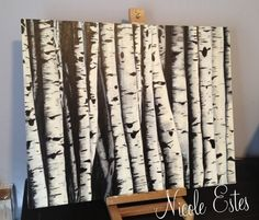 """Birch Painting This is what I've been working on this week… I guess I'll call it """"Birch Trees"""" When Steve & I were visiting Utah in September, I fell in love with these beautiful trees. I took some photos of them and decided I wanted to paint them. This week has been my first chance to paint a canvas instead of furniture! The painting measures 24 x 30″and I just finished it this afternoon. I will probably buy a frame for it tomorrow. I can't decide if I will put this one in the studio ..."""