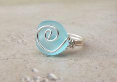 Ocean Blue Sea Glass Ring: Silberdraht gewickelt Turquoise Blue Beach Schmuck, Größe 7 auf Etsy, 13,38 €