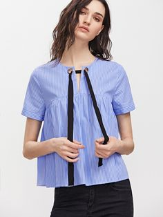 Shop Blue Striped Eyelet Tie Neck Babydoll Top online. SheIn offers Blue Striped Eyelet Tie Neck Babydoll Top & more to fit your fashionable needs.