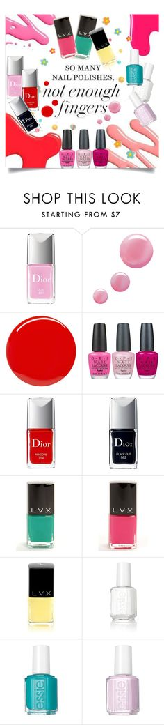 """""""so many nail polishes. not enough fingers"""" by juliehooper ❤ liked on Polyvore featuring beauty, Christian Dior, Topshop, Yves Saint Laurent, OPI, LVX, Essie and nailpolish"""