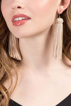 1b9e55e0e Elaine Top Knot Tassel Earrings in Beige