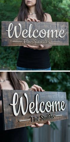 The Letters On This Sign are 3D not painted like other signs but cut out of wood and then mounted to the background giving the letters a 3D effect. They really stand out! giftedoccasion.com#woodensign#board#sign#familynamesign#family#name